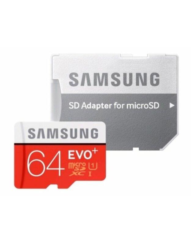 Atminties kortelė Samsung MicroSDXC Evo+ 64GB Class 10 su Adapteriu