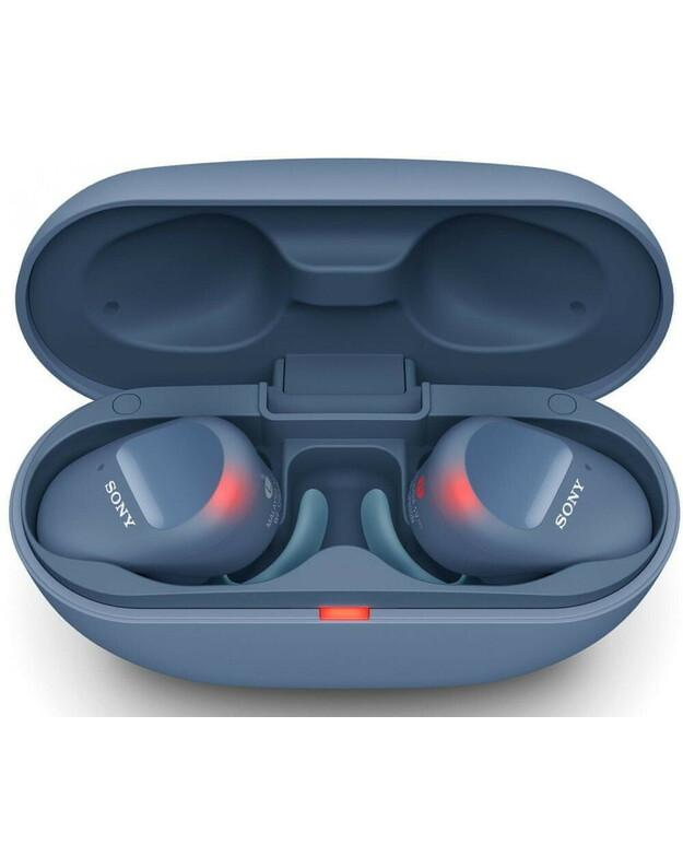 Visiškai belaidės triukšmą slopinančios ausinės Sony WF-SP800N, sunkioms treniruotėms, Mėlynos